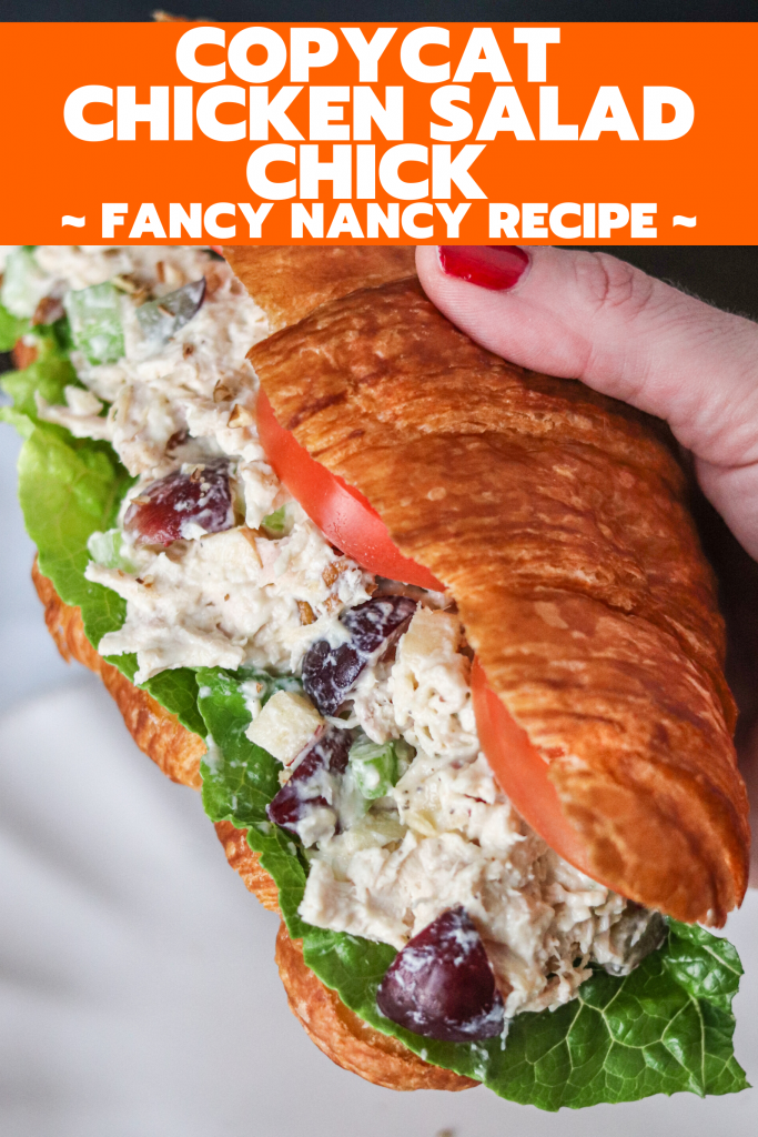 This chicken salad is filled with grapes, apples, walnuts, and shredded chicken! It's identical to the Fancy Nancy Chicken Salad from Chicken Salad Chick!