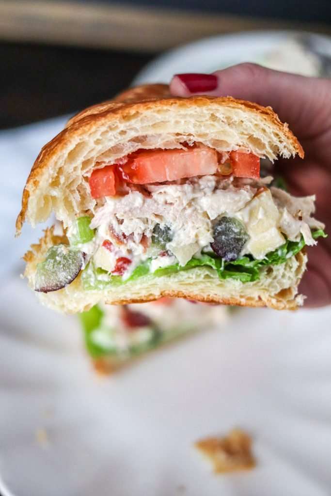 This chicken salad is filled with grapes, apples, pecans, and shredded chicken! It's identical to the Fancy Nancy Chicken Salad from Chicken Salad Chick!