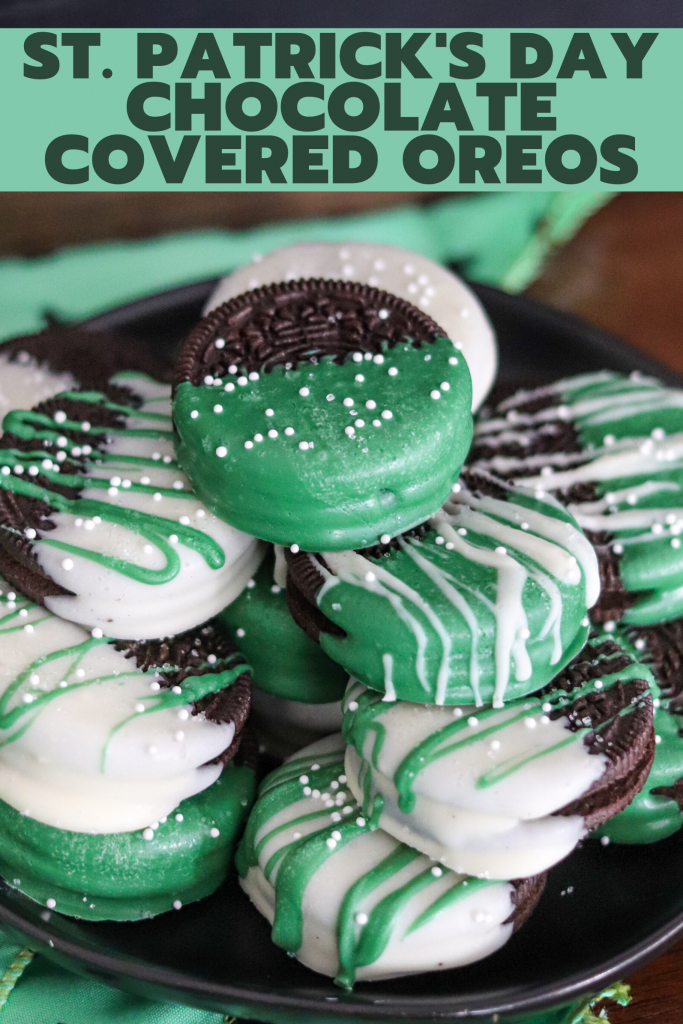 Only two ingredients to make these fun St. Patrick's Day themed Chocolate Covered Oreos! This is an easy delicious treat that everyone will enjoy!