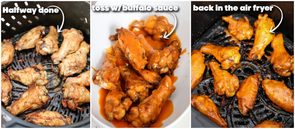 step by step collage on how to make air fryer buffalo wings