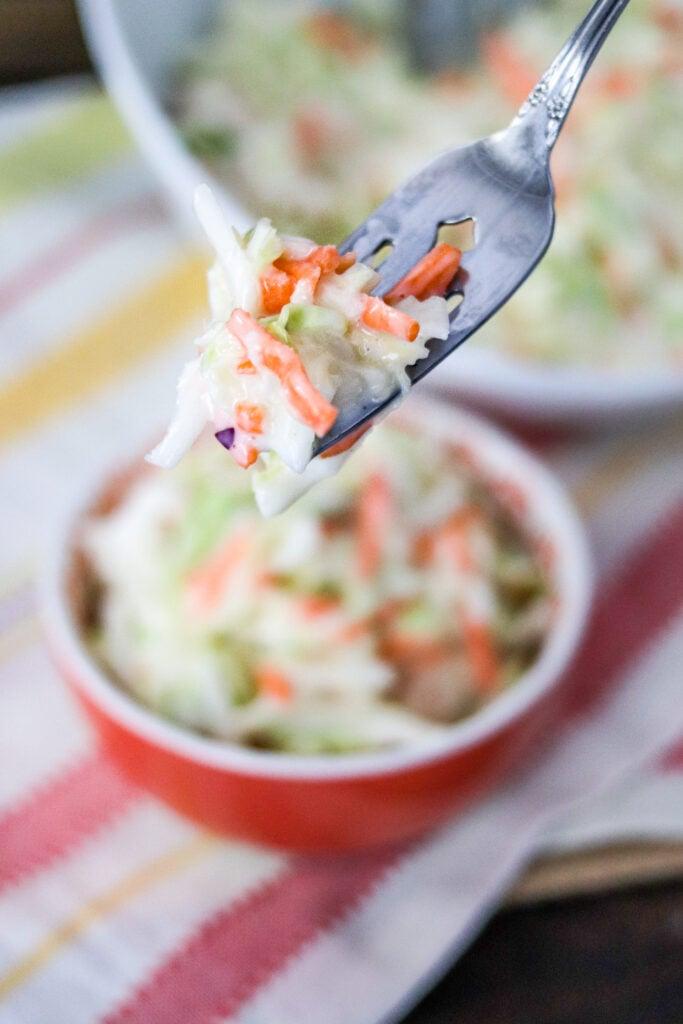 forkful of coleslaw