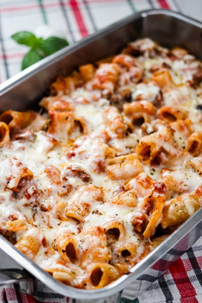 Easy Baked Mostaccioli is a classic Italian dish that takes very little effort to make, but has a ton of flavor! This comforting dish is a dinner staple!