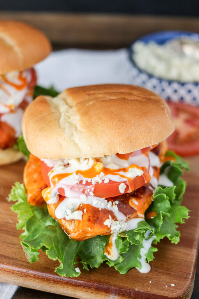 The Buffalo Chicken Sandwich is a classic staple that can easily be made at home using fresh ingredients! Done in less than 15 minutes, this sandwich is an easy dinner or lunch solution!
