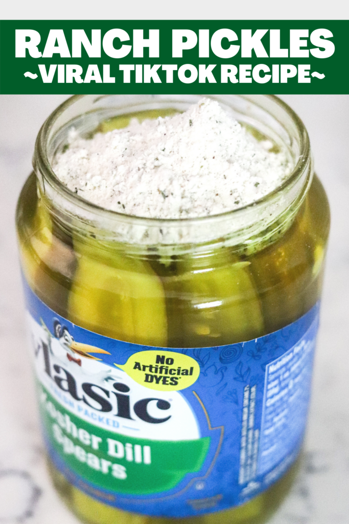 Made famous on TikTok, Ranch Pickles are delicious dill pickles marinated in ranch seasoning. With a zesty dill ranch flavor, this will be a go-to snack!