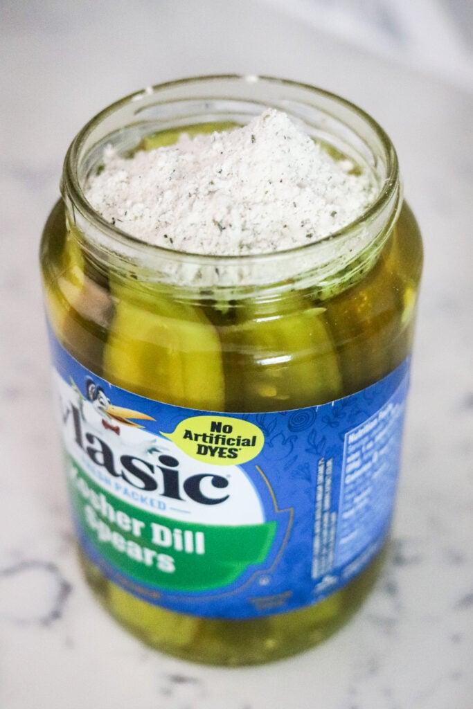 seasoning inside pickle jar