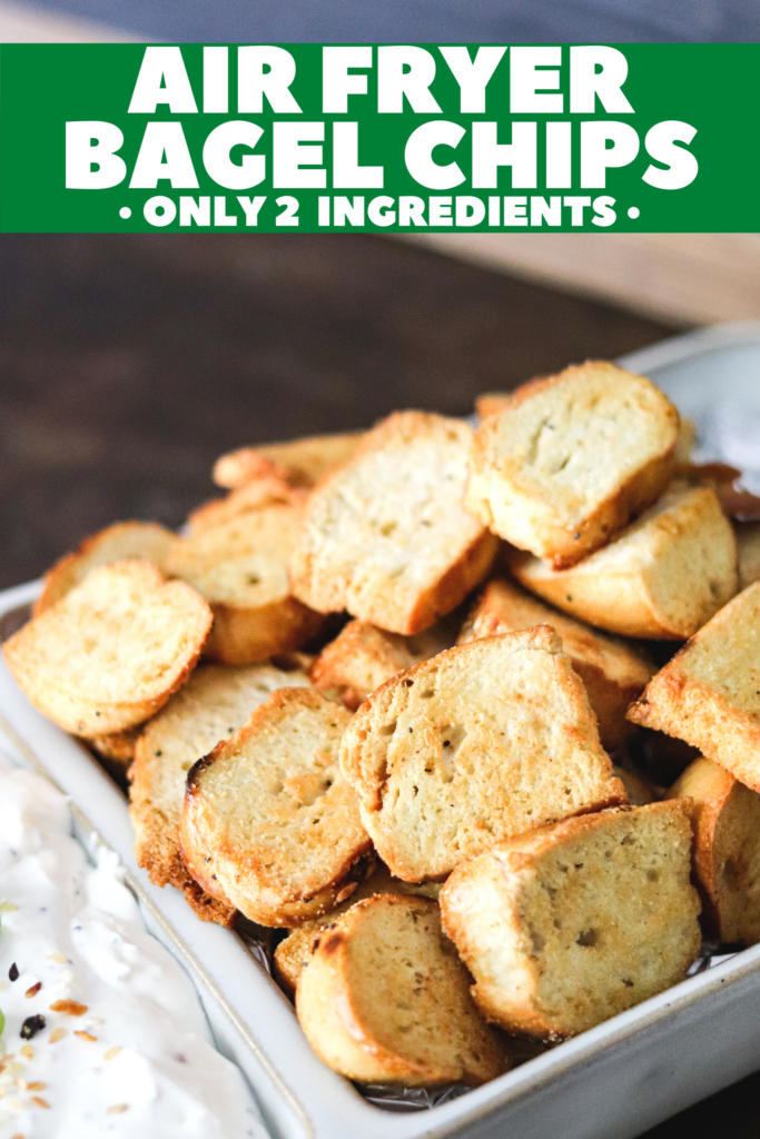 Making bagel chips has never been easier than with the air fryer or bake them in the oven! Done in less than 10 minutes and perfectly crispy!