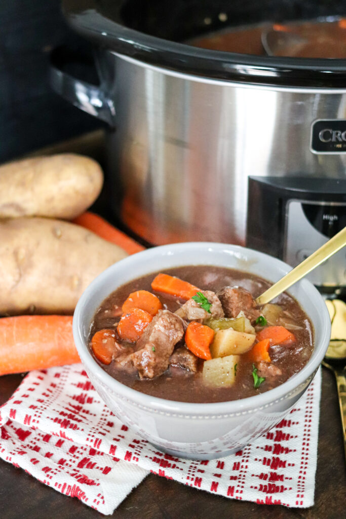 Slow cooker beef stew is full of vegetables and the perfect comfort meal. With the slow cooker, it's a true 'set it and forget it' recipe everyone will love.